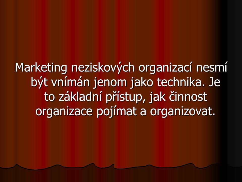 Marketing neziskových organizací nesmí být vnímán jenom jako technika