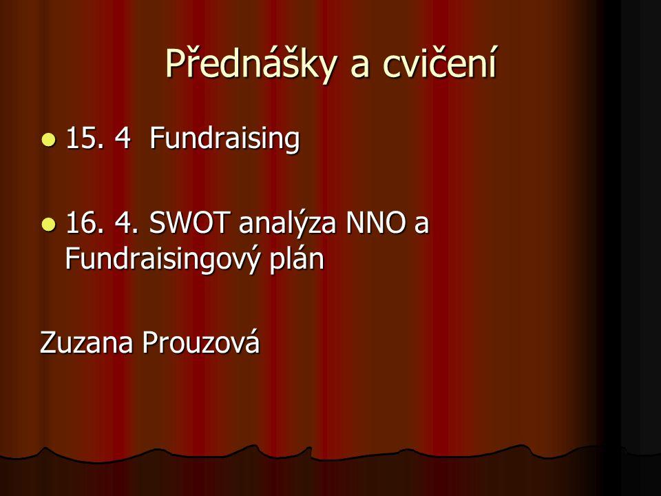 Přednášky a cvičení 15. 4 Fundraising