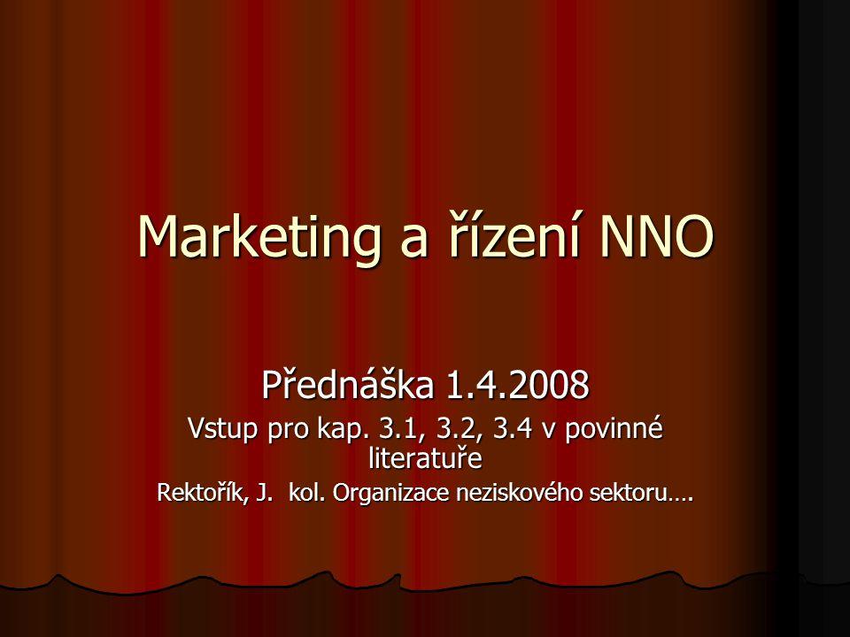 Marketing a řízení NNO Přednáška 1.4.2008