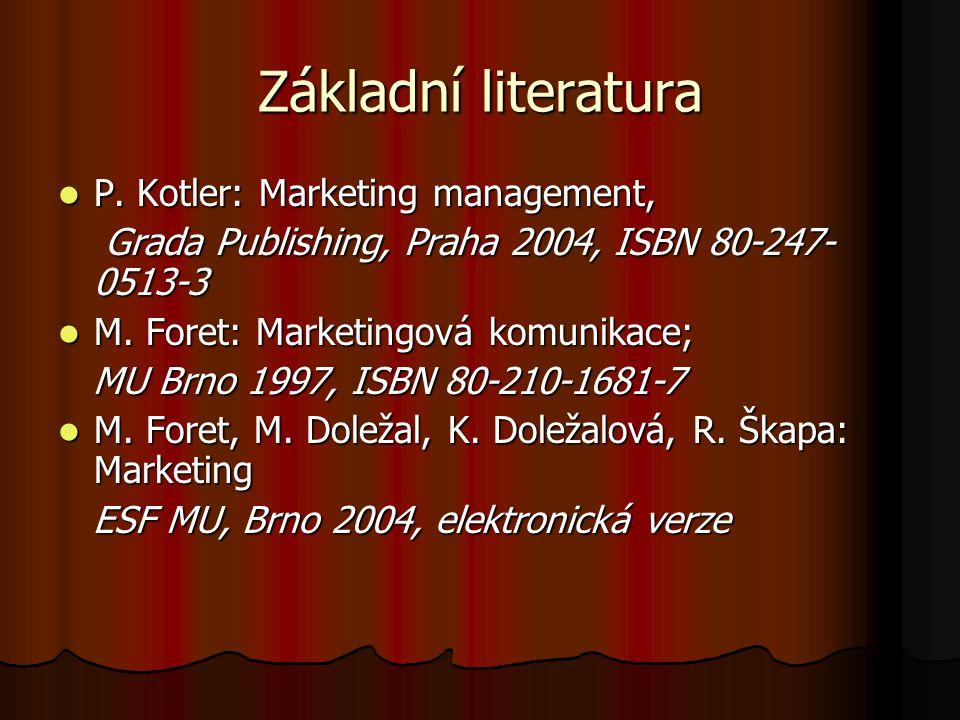 Základní literatura P. Kotler: Marketing management,