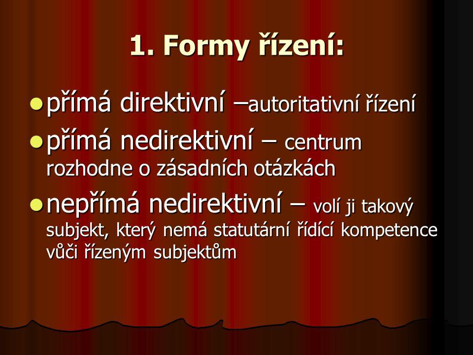 1. Formy řízení: přímá direktivní –autoritativní řízení
