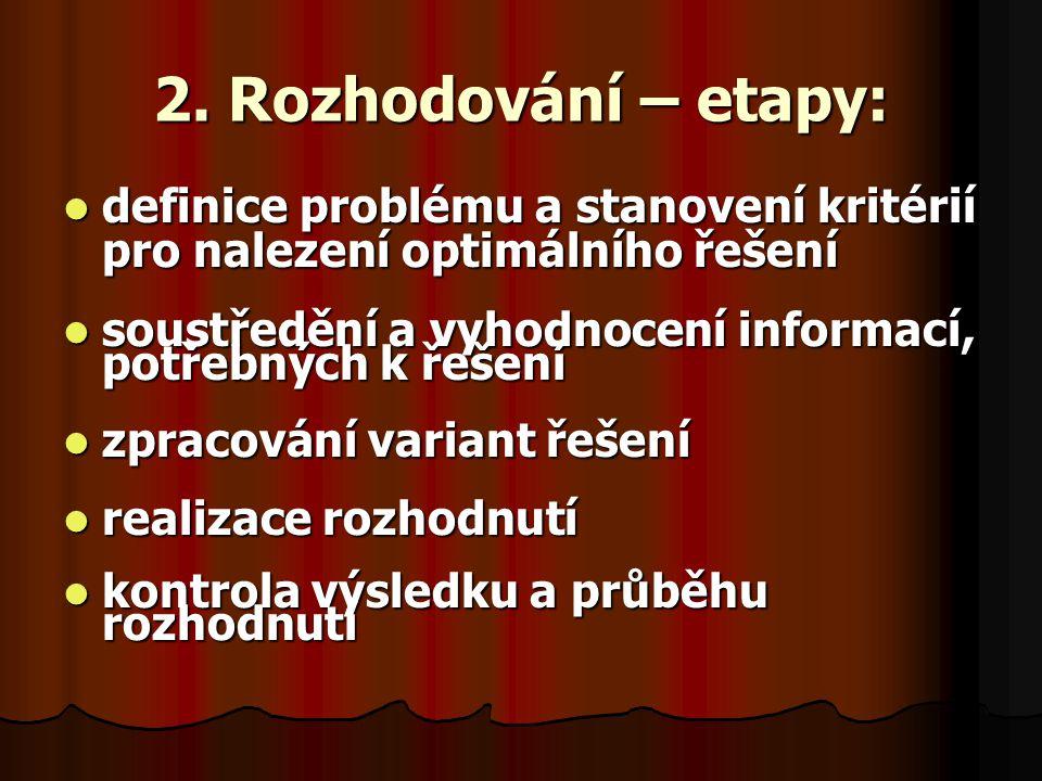 2. Rozhodování – etapy: definice problému a stanovení kritérií pro nalezení optimálního řešení.