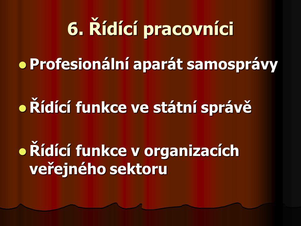 6. Řídící pracovníci Profesionální aparát samosprávy