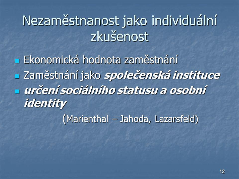 Nezaměstnanost jako individuální zkušenost