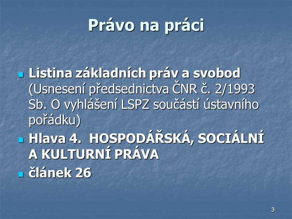 Právo na práci Listina základních práv a svobod (Usnesení předsednictva ČNR č. 2/1993 Sb. O vyhlášení LSPZ součástí ústavního pořádku)