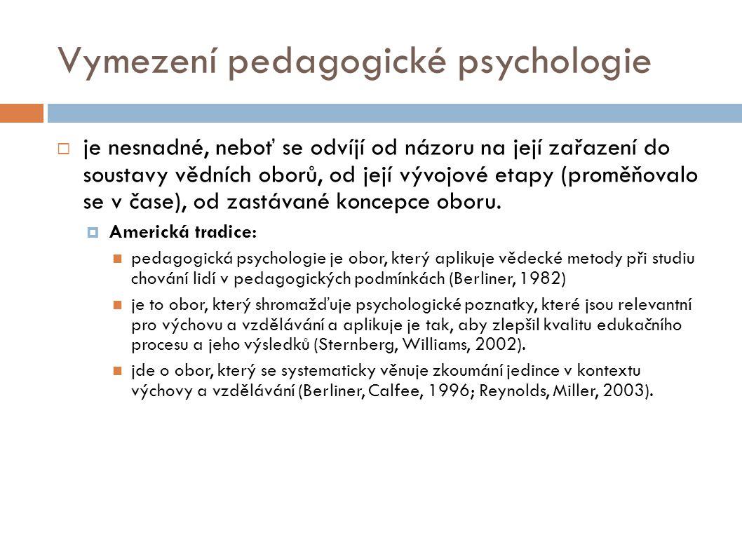 Vymezení pedagogické psychologie