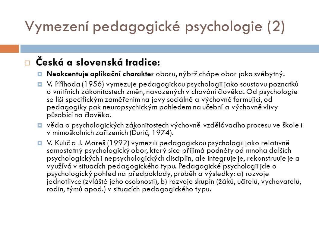 Vymezení pedagogické psychologie (2)