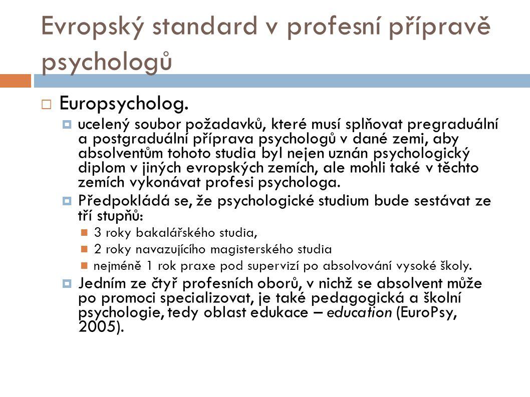 Evropský standard v profesní přípravě psychologů