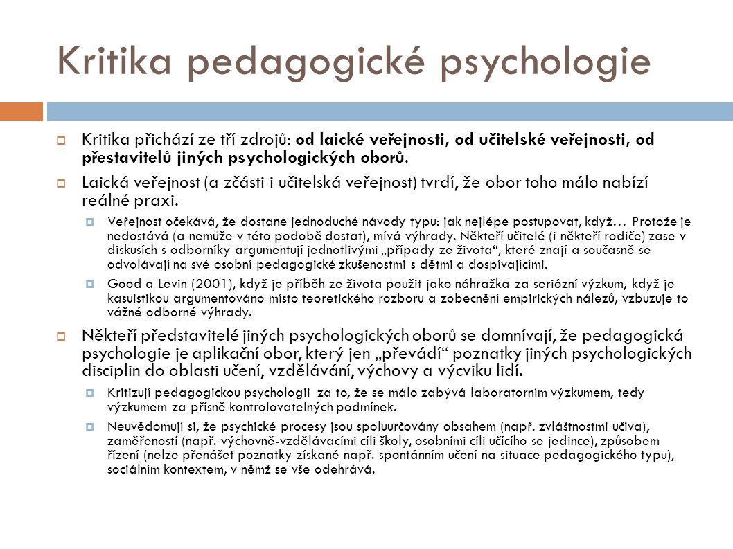 Kritika pedagogické psychologie