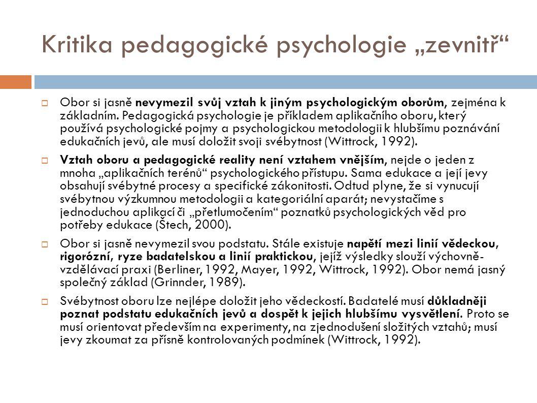 """Kritika pedagogické psychologie """"zevnitř"""