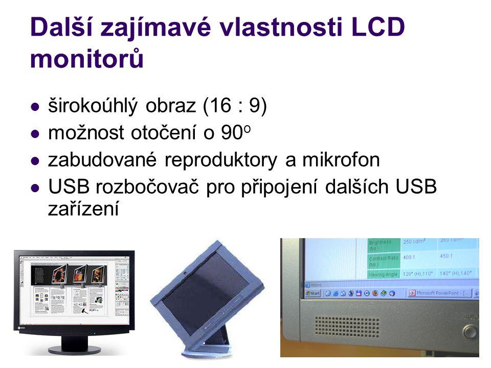 Další zajímavé vlastnosti LCD monitorů