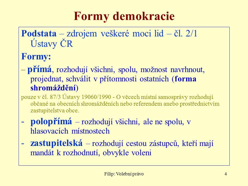 Formy demokracie Podstata – zdrojem veškeré moci lid – čl. 2/1 Ústavy ČR. Formy: