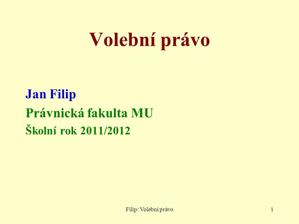 Volební právo Jan Filip Právnická fakulta MU Školní rok 2011/2012