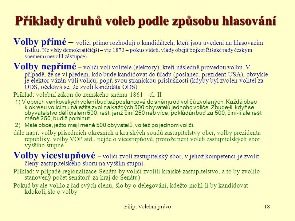 Příklady druhů voleb podle způsobu hlasování