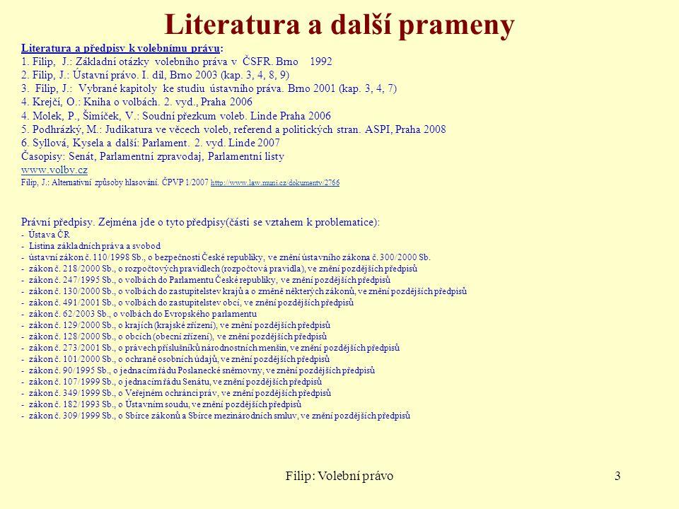 Literatura a další prameny