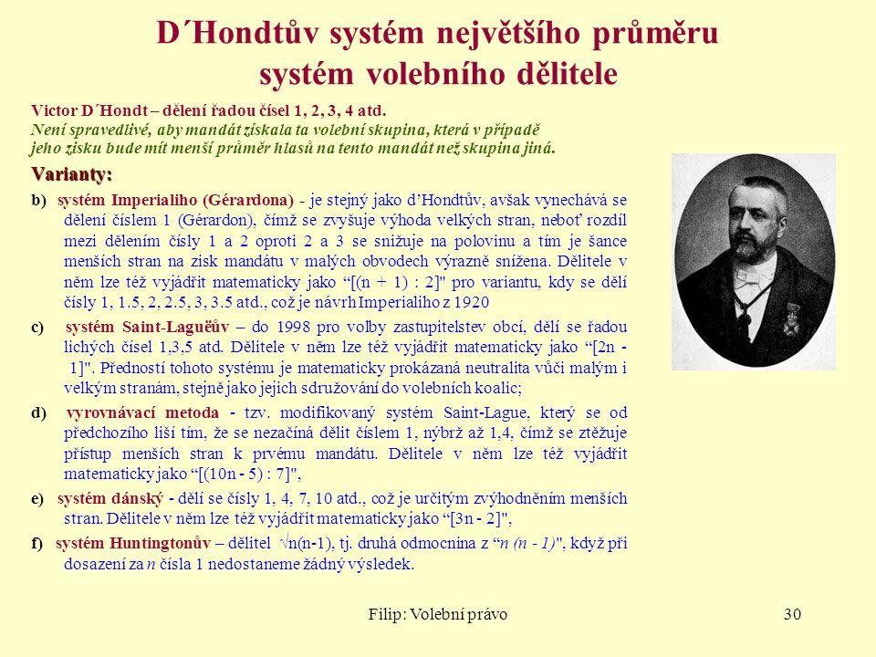 D´Hondtův systém největšího průměru systém volebního dělitele