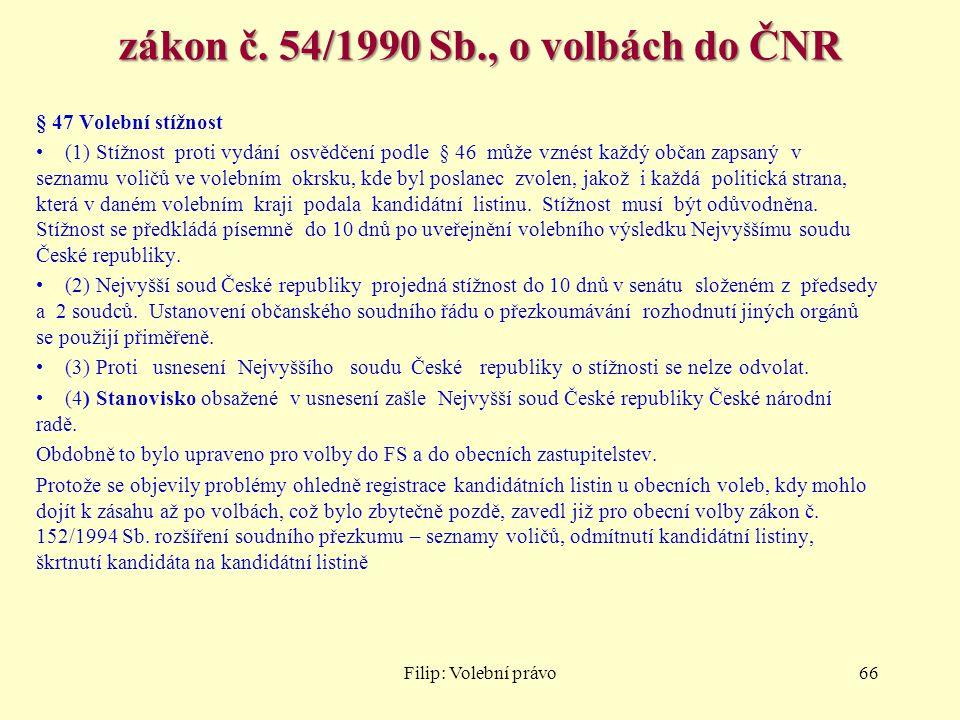 zákon č. 54/1990 Sb., o volbách do ČNR
