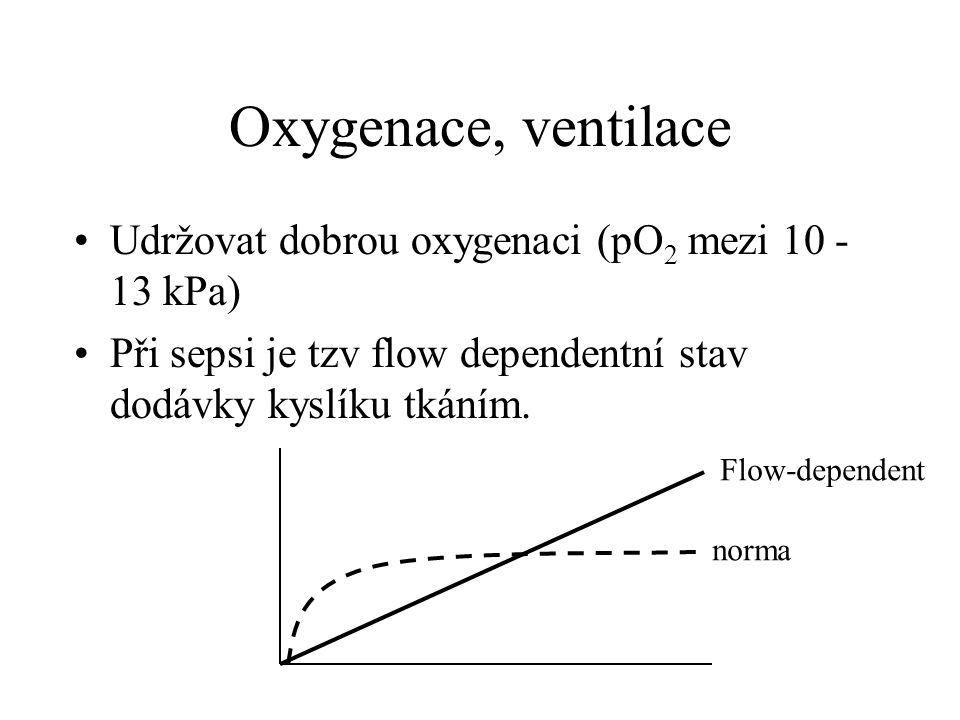 Oxygenace, ventilace Udržovat dobrou oxygenaci (pO2 mezi 10 - 13 kPa)