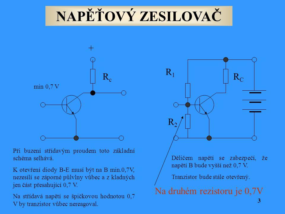 NAPĚŤOVÝ ZESILOVAČ Rc + R1 RC R2 Na druhém rezistoru je 0,7V min 0,7 V