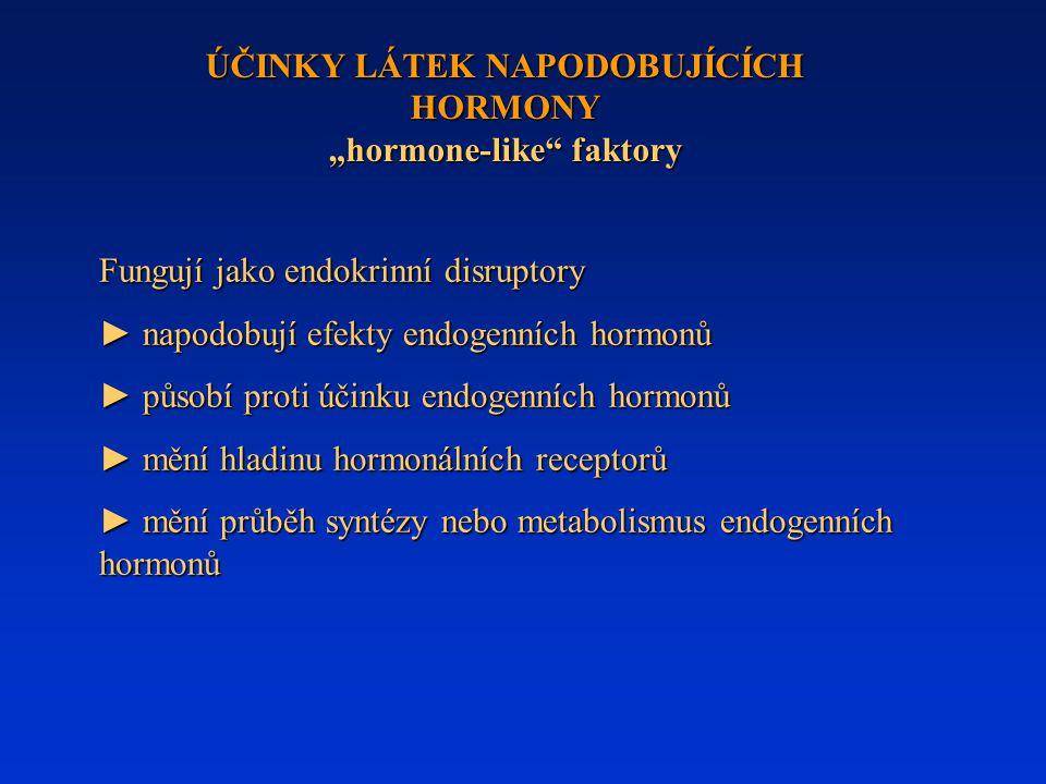 """ÚČINKY LÁTEK NAPODOBUJÍCÍCH HORMONY """"hormone-like faktory"""