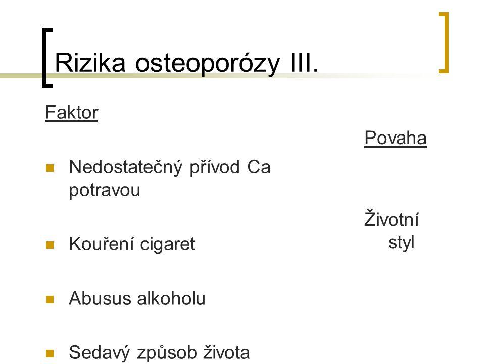 Rizika osteoporózy III.
