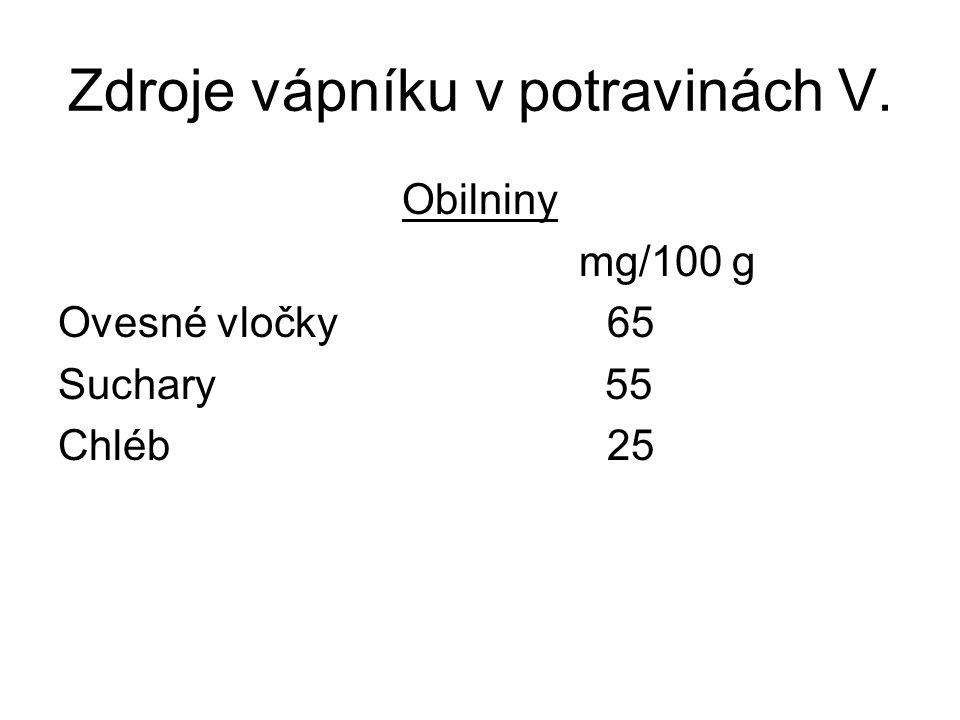 Zdroje vápníku v potravinách V.