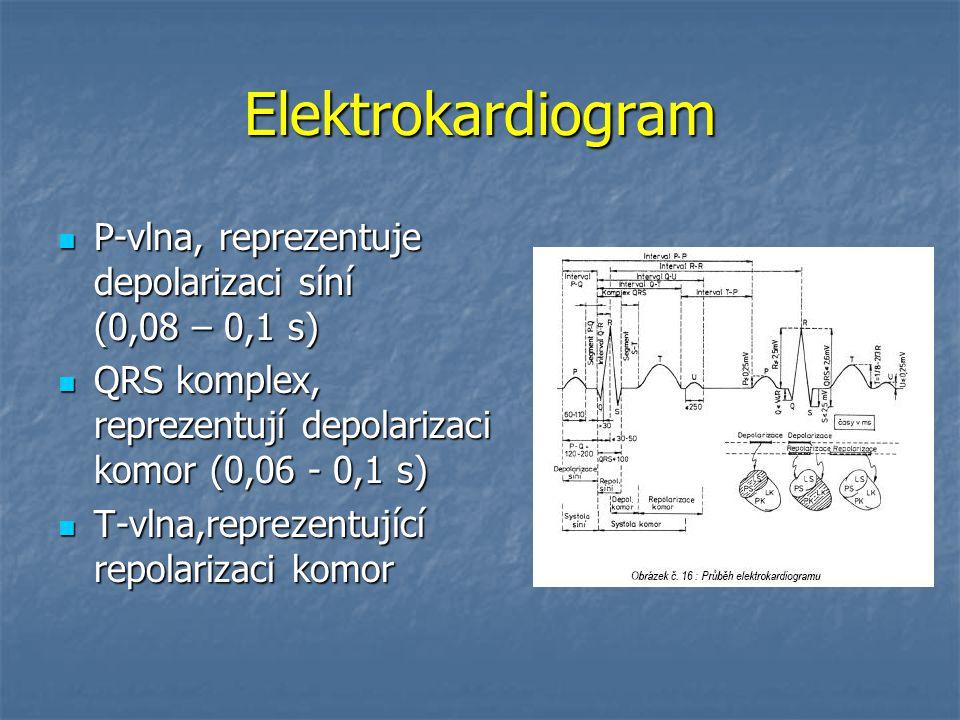Elektrokardiogram P-vlna, reprezentuje depolarizaci síní (0,08 – 0,1 s) QRS komplex, reprezentují depolarizaci komor (0,06 - 0,1 s)