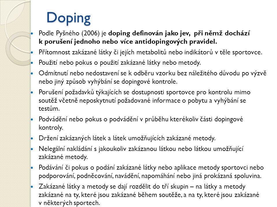 Doping Podle Pyšného (2006) je doping definován jako jev, při němž dochází k porušení jednoho nebo více antidopingových pravidel.