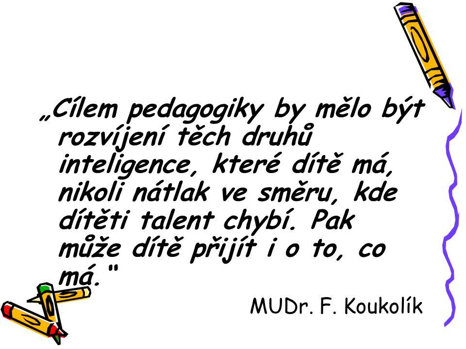 """""""Cílem pedagogiky by mělo být rozvíjení těch druhů inteligence, které dítě má, nikoli nátlak ve směru, kde dítěti talent chybí. Pak může dítě přijít i o to, co má."""