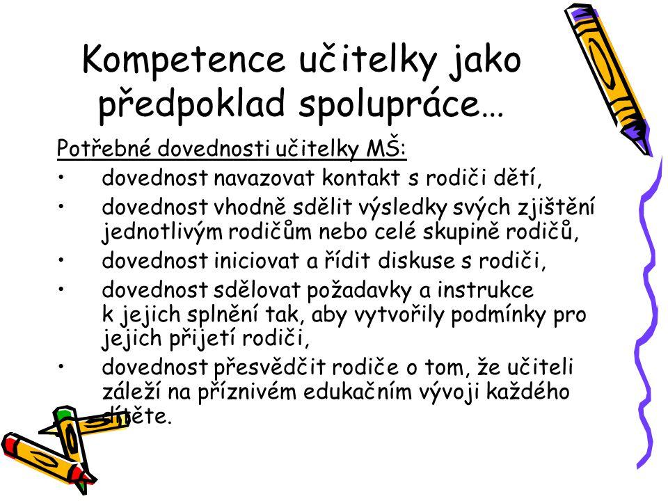 Kompetence učitelky jako předpoklad spolupráce…