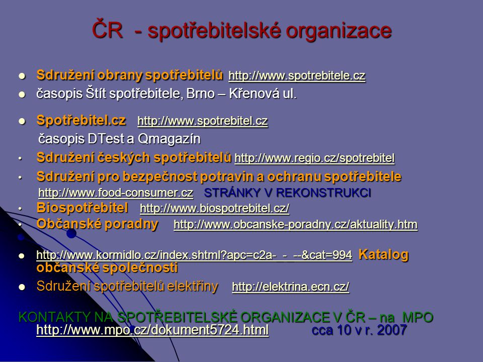 ČR - spotřebitelské organizace