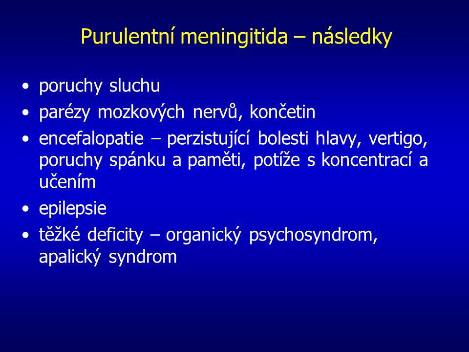 Purulentní meningitida – následky