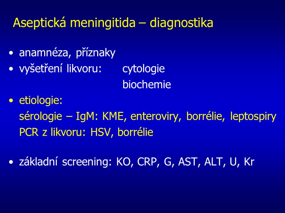 Aseptická meningitida – diagnostika