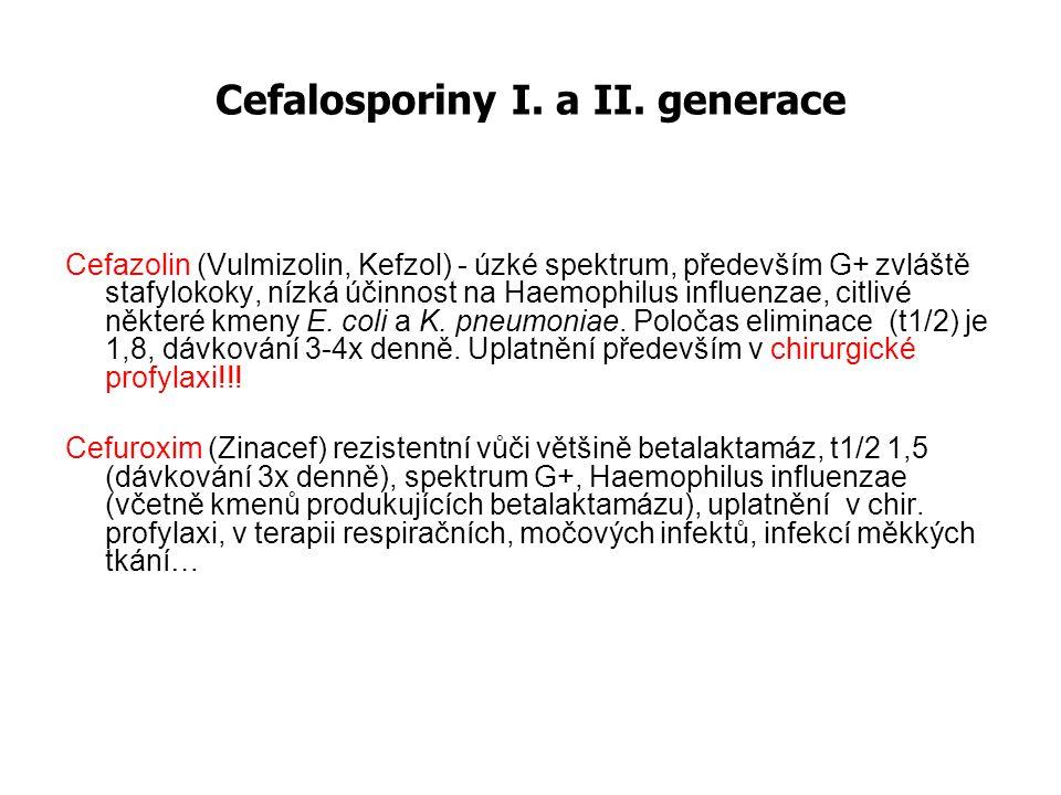 Cefalosporiny I. a II. generace