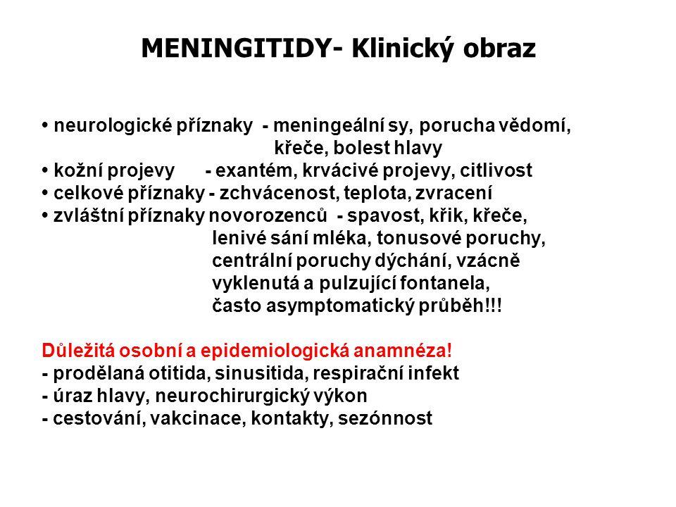 MENINGITIDY- Klinický obraz