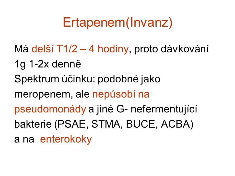 Ertapenem(Invanz) Má delší T1/2 – 4 hodiny, proto dávkování
