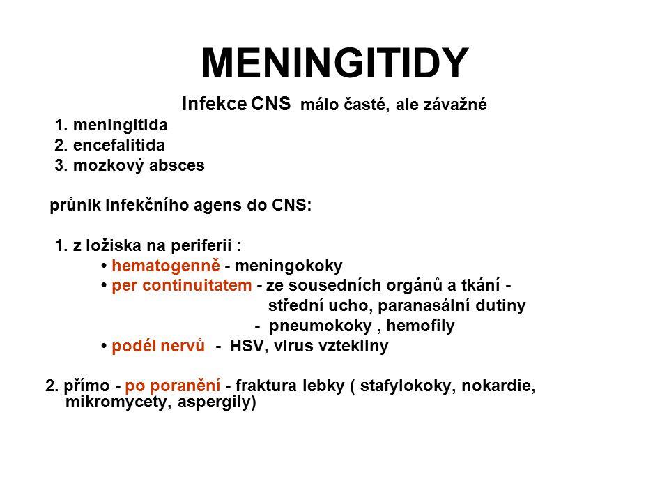 Infekce CNS málo časté, ale závažné