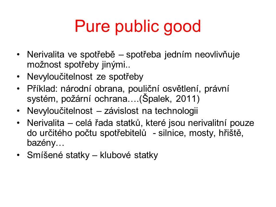 Pure public good Nerivalita ve spotřebě – spotřeba jedním neovlivňuje možnost spotřeby jinými.. Nevyloučitelnost ze spotřeby.