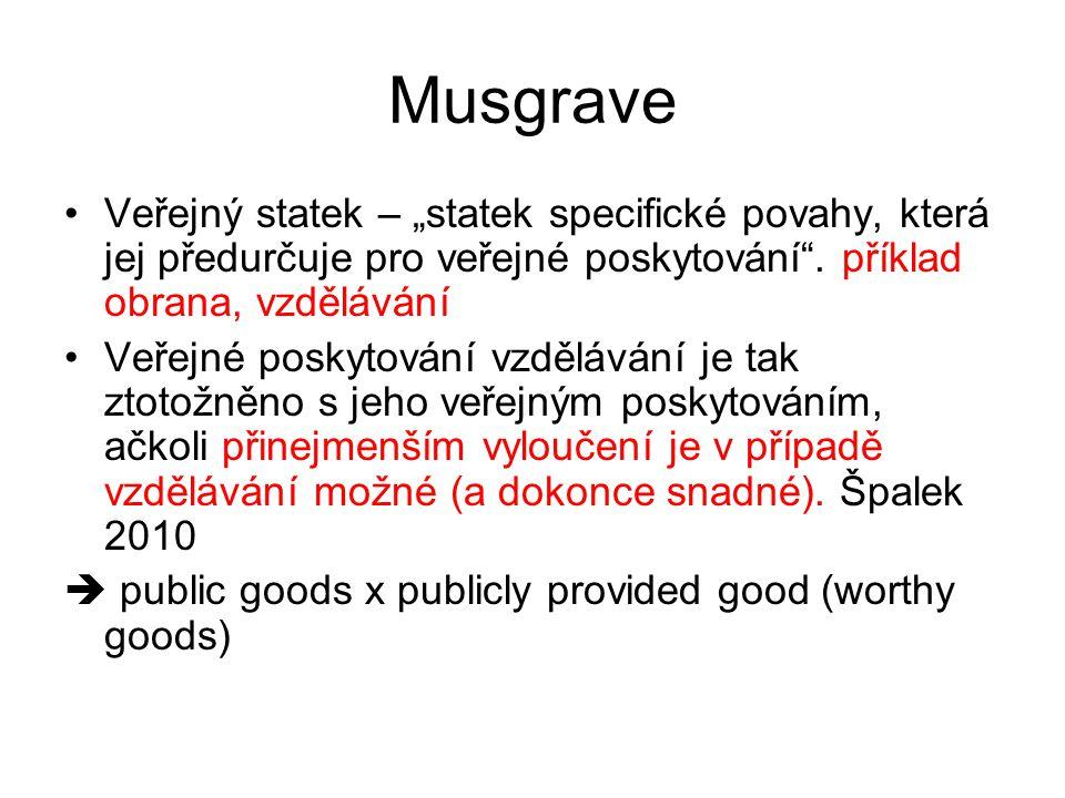 """Musgrave Veřejný statek – """"statek specifické povahy, která jej předurčuje pro veřejné poskytování . příklad obrana, vzdělávání."""