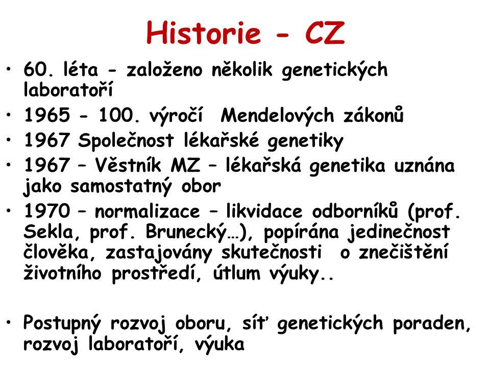 Historie - CZ 60. léta - založeno několik genetických laboratoří