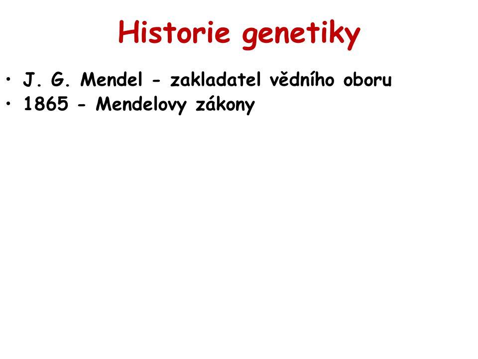 Historie genetiky J. G. Mendel - zakladatel vědního oboru