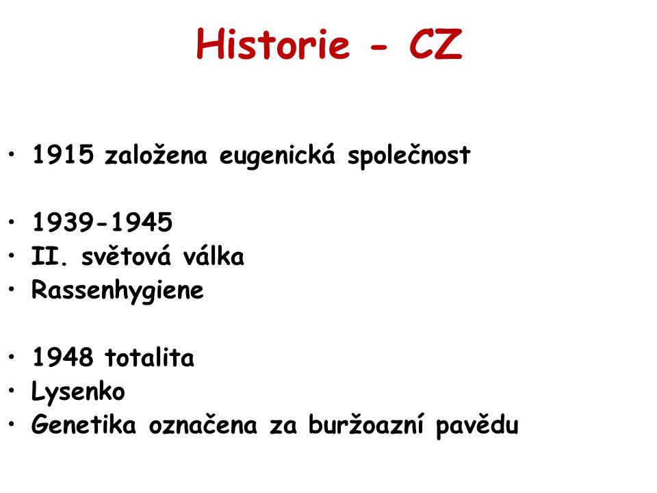 Historie - CZ 1915 založena eugenická společnost 1939-1945