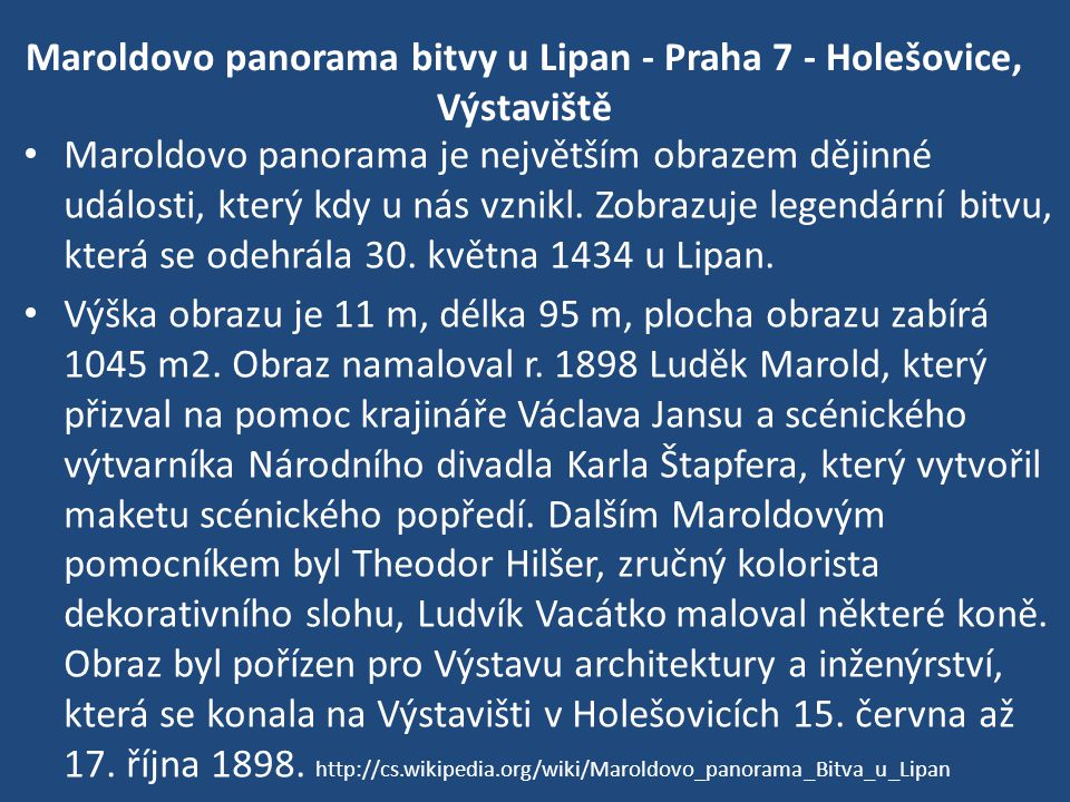 Maroldovo panorama bitvy u Lipan - Praha 7 - Holešovice, Výstaviště