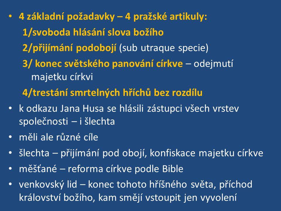 4 základní požadavky – 4 pražské artikuly: