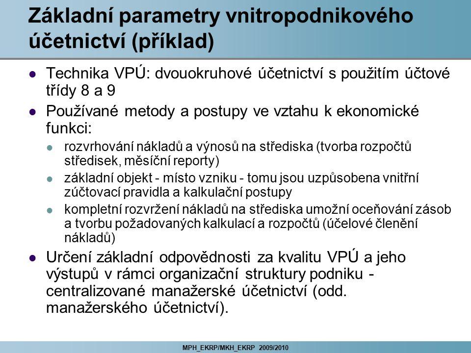 Základní parametry vnitropodnikového účetnictví (příklad)