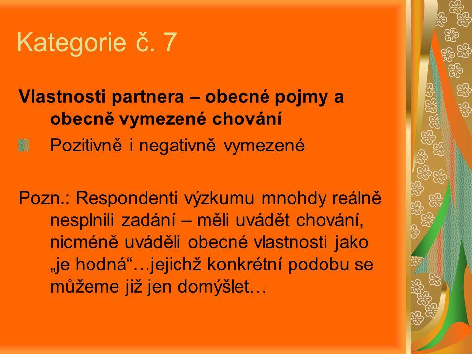 Kategorie č. 7 Vlastnosti partnera – obecné pojmy a obecně vymezené chování. Pozitivně i negativně vymezené.