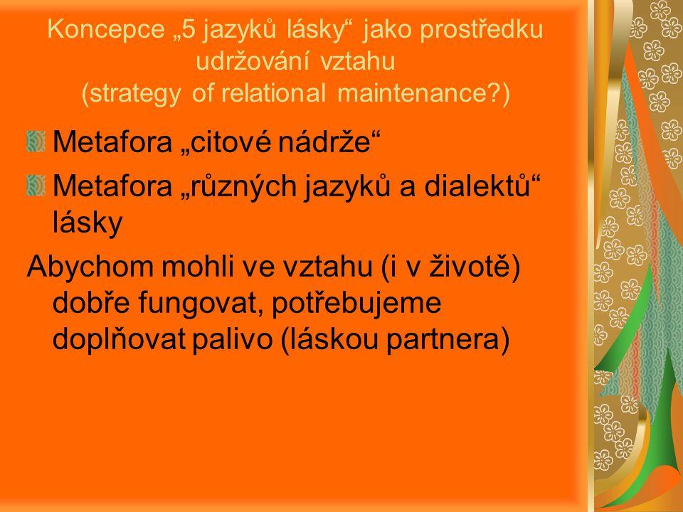 """Metafora """"citové nádrže Metafora """"různých jazyků a dialektů lásky"""