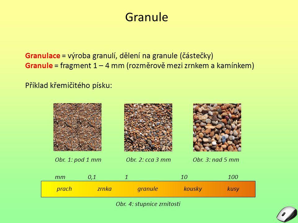 Granule Granulace = výroba granulí, dělení na granule (částečky)