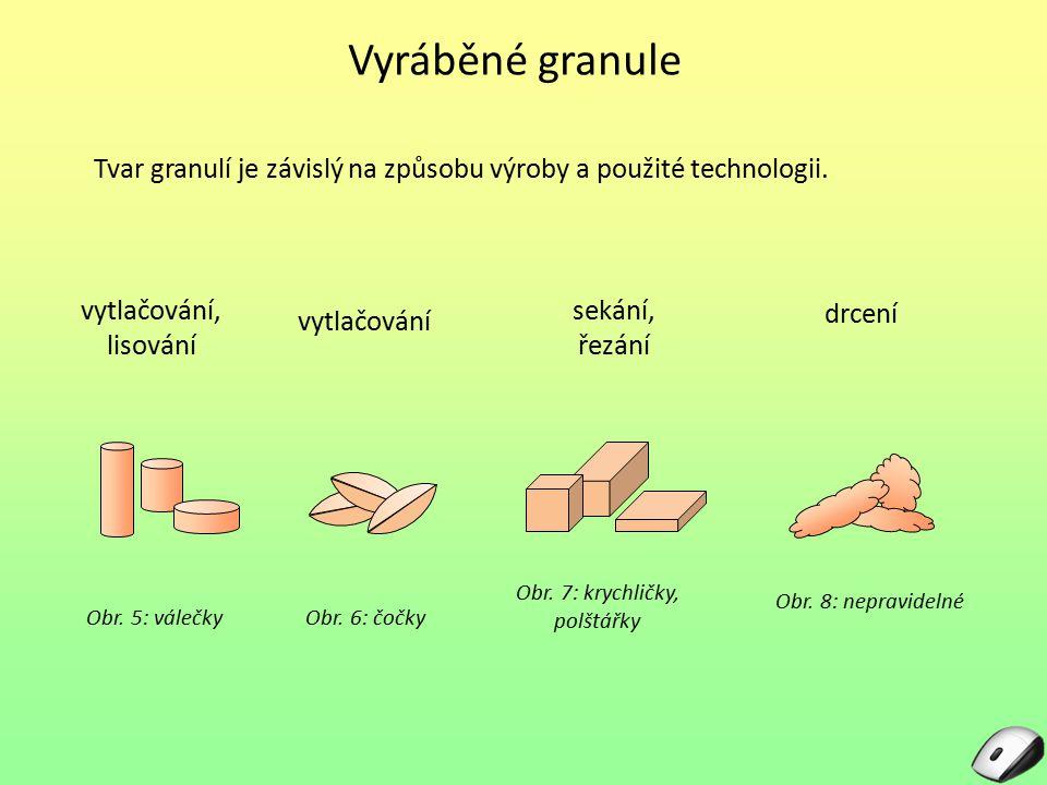 Vyráběné granule Tvar granulí je závislý na způsobu výroby a použité technologii. vytlačování, lisování.