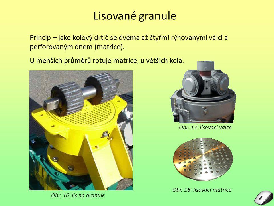 Lisované granule Princip – jako kolový drtič se dvěma až čtyřmi rýhovanými válci a perforovaným dnem (matrice).
